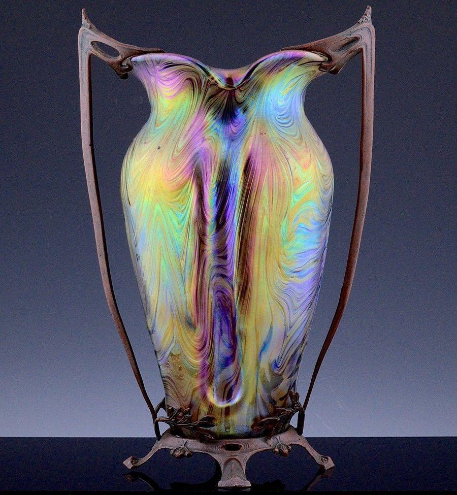 Stunning large c1900 art nouveau loetz austrian art glass vase w stunning large c1900 art nouveau loetz austrian art glass vase w bronze mounts reviewsmspy