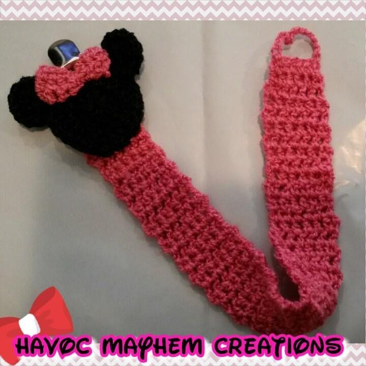 Crochet Minnie Mouse Pacifier Holder