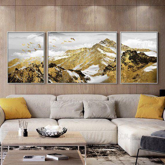 3 Pieces Gold Art Abstract Canvas Painting Original Mountain
