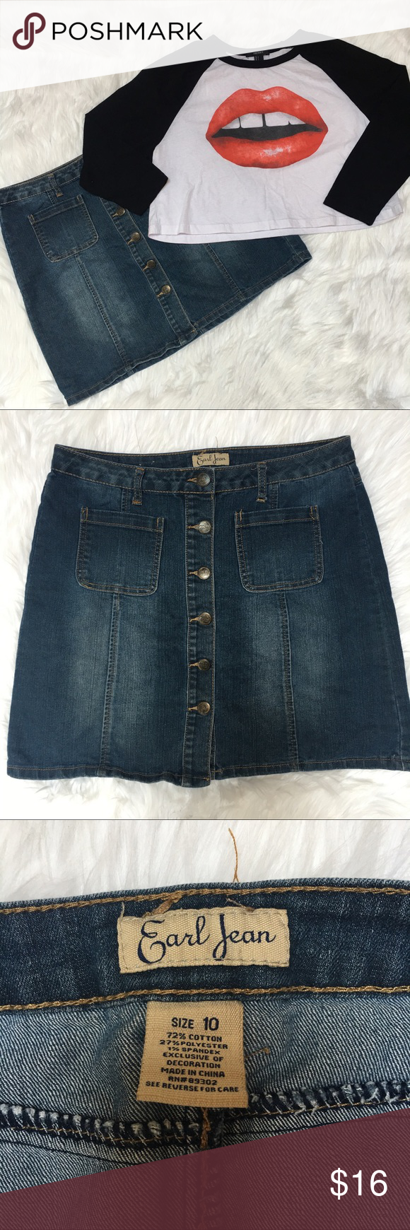 "Earl Jean Button Down Denim Skirt Size 10 Excellent Condition Denim skirt. Size 10. 16"" across the waist laying flat. Length- 17"" Earl Jeans Skirts"