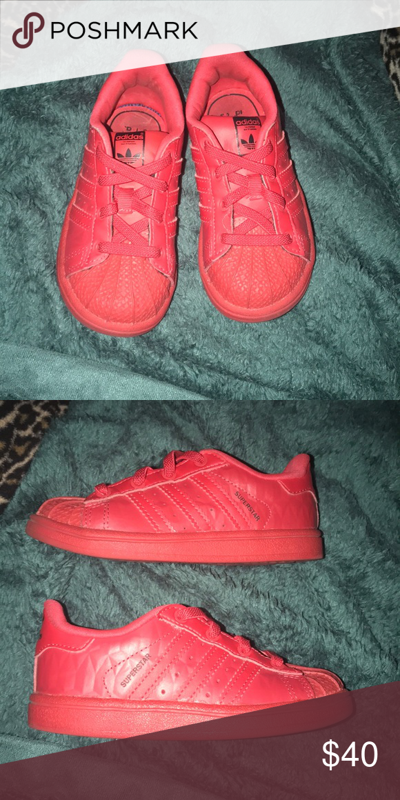 ecde5ea7a5d5 Kid Superstar Adidas in The color Red. Mid To New Condition. They are In  The Size 8K US. adidas Shoes Sneakers