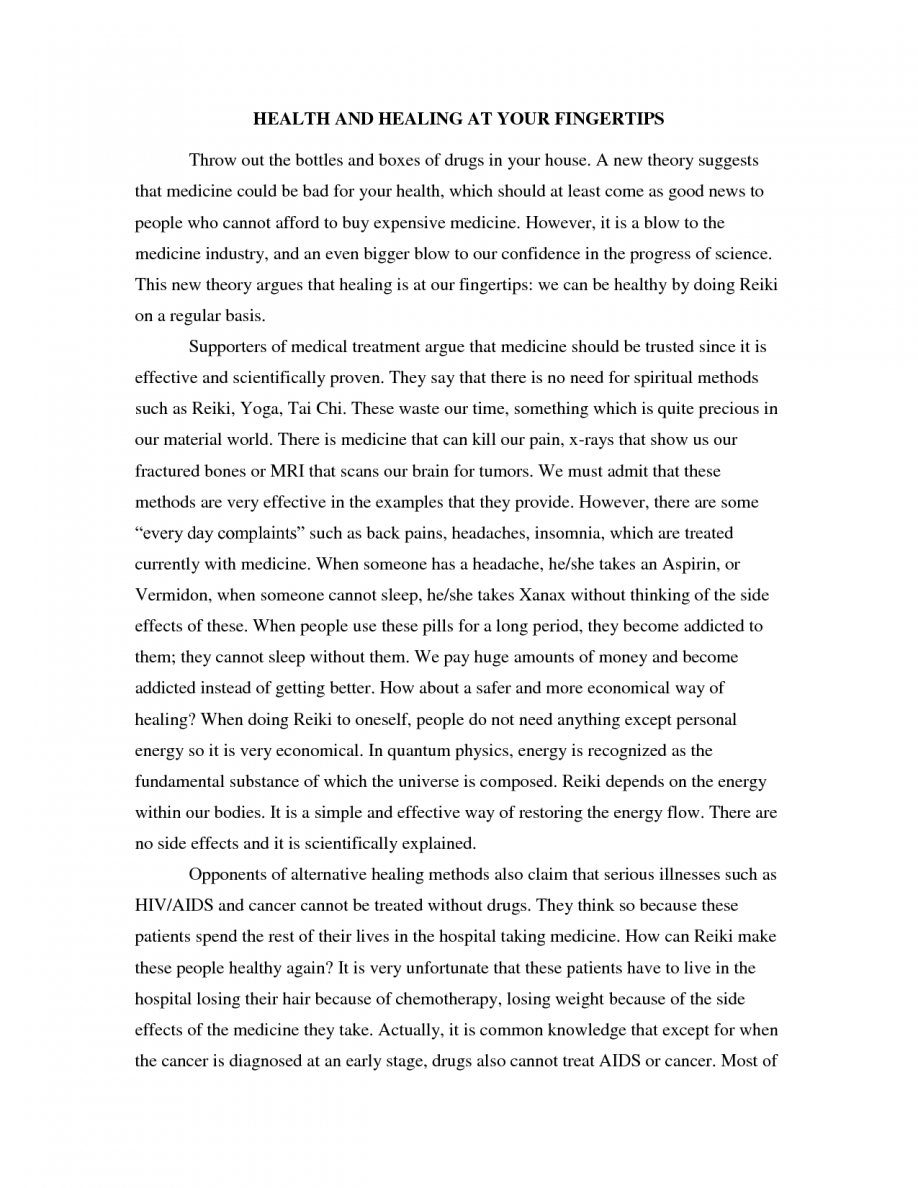 Argumentative essay example college