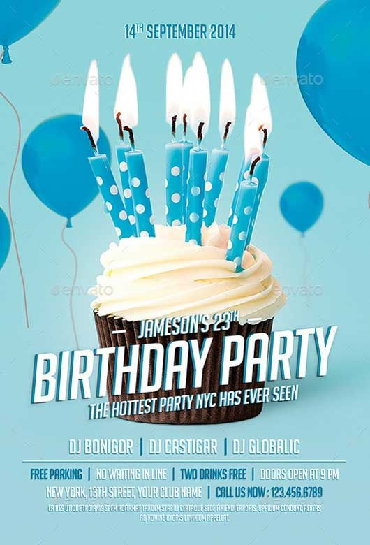 Birthday Party Flyer Template Layouts Pinterest Party flyer
