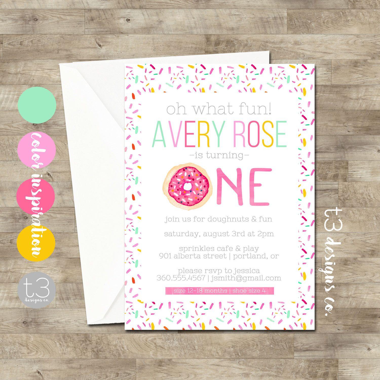 Donut birthday invitation, girl birthday invitation, doughnut party ...