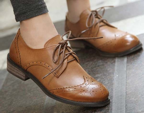 classic vintage brogue women oxford tassel loafer shoes flat