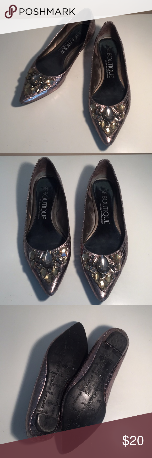 407032525d9ed1 Sam Edelman Boutique Sz 6 Metallic Jeweled Flats Sam Edelman Boutique Sz 6  Metallic Jeweled Flats SE Boutique by Sam Edelman Designs Shoes Flats    Loafers