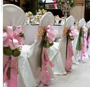 Large silk floral arrangements for church add sparkle to 40 ceremony or reception chairs decorated with ribbon flowers and crystal draping junglespirit Gallery