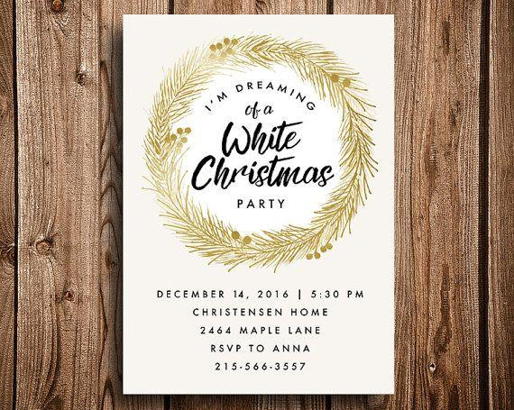 White Christmas Party Printable Invitation Christmas