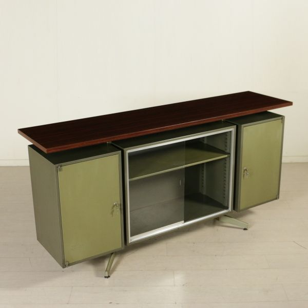 Mobile anni 60 da ufficio con ante laterali battenti e ante frontali ...