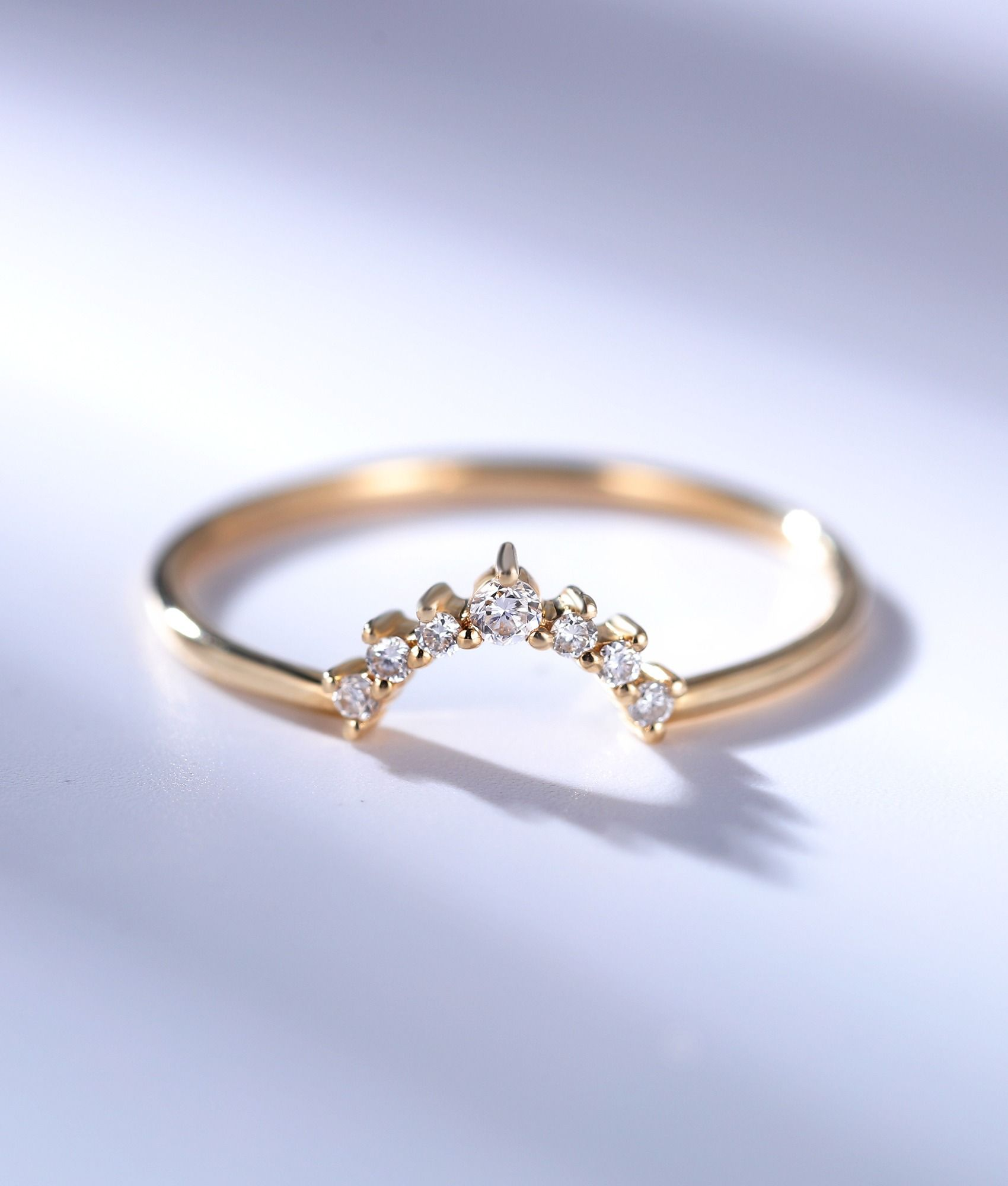 Diamond curved wedding band for women dainty crown solid