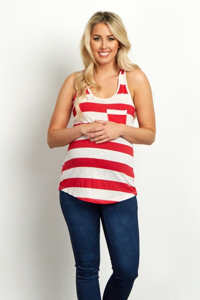 62d31897630 Red White Striped Maternity Racerback Tank