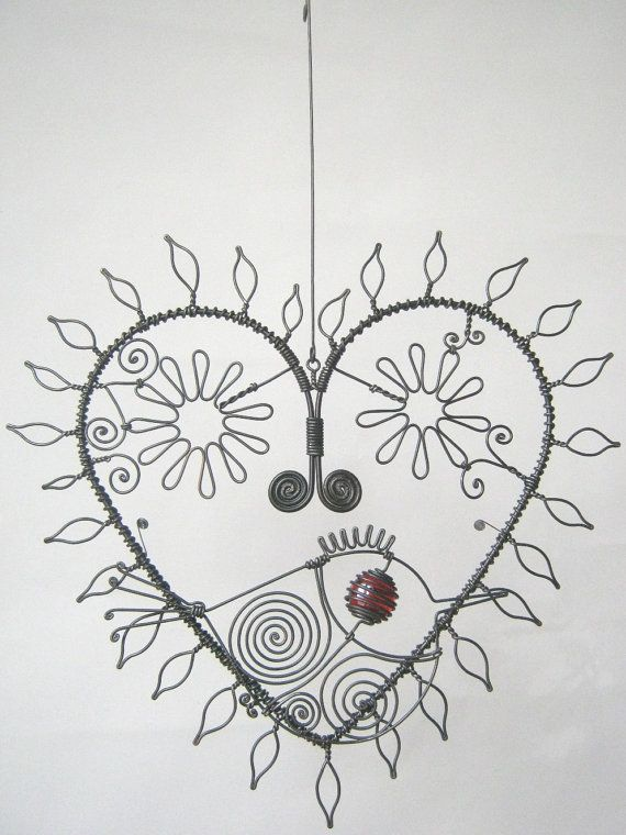 Wire Heart Sculpture With Leaves And Flowers And A Bird For Your ...