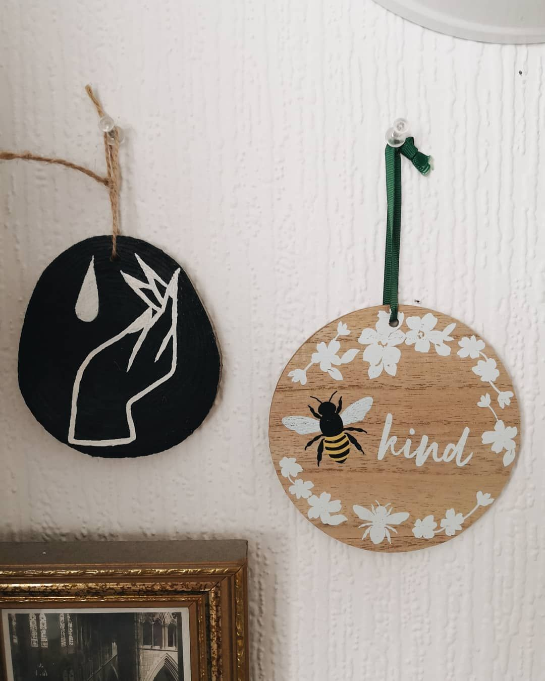 Posted on my story also but  couldn't resist posting this lovely little wood hanging I got from b&m today! Me and @halfarsedhousewife got matching ones