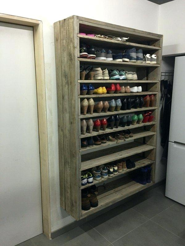 Mudroom Shoe Storage Giant Shoe Rack Made Out Of Discarded Pallets But Think In Terms Of Canning And Food In 2020 Wooden Shoe Racks Diy Shoe Rack Shoe Rack With Shelf