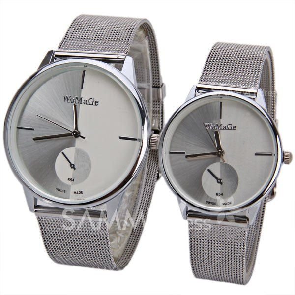 Valentine Womage Quartz Watch With Strips Indicate Steel Watch Band