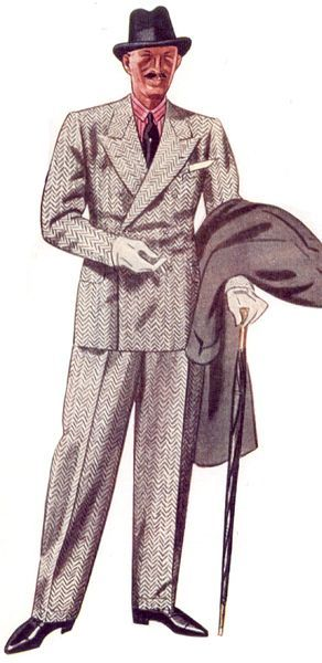 1930s Menswear Outfit Clothing Ideas Fashion Illustration