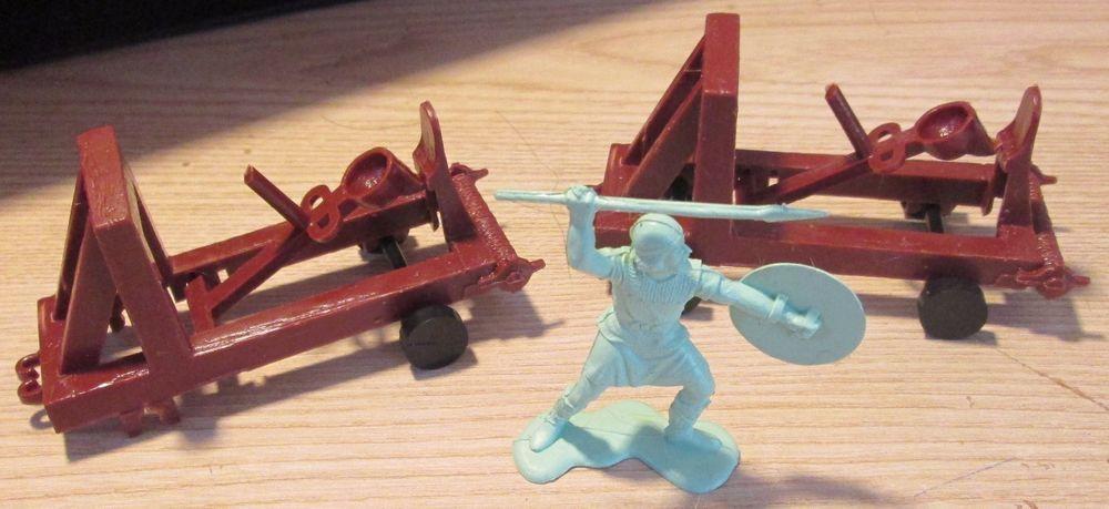 2 Vintage 1965 Marx Castle Catapults and 1 Viking Warrior #Marx