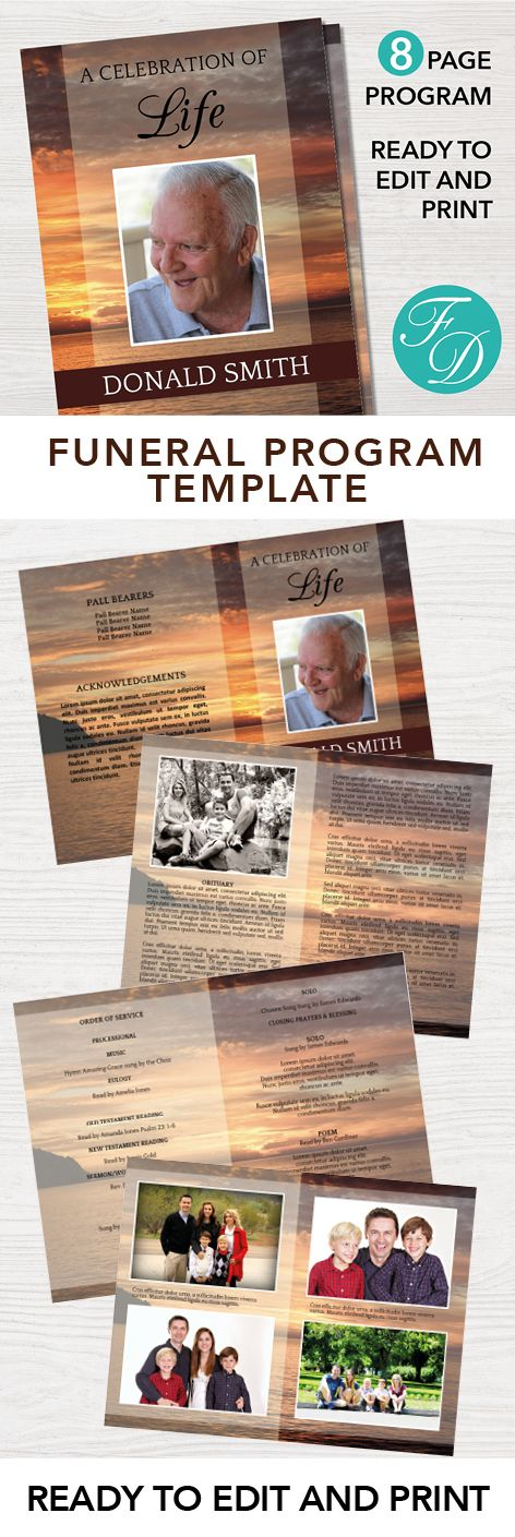 Sunset Printable Funeral program ready to edit & print Simply ...