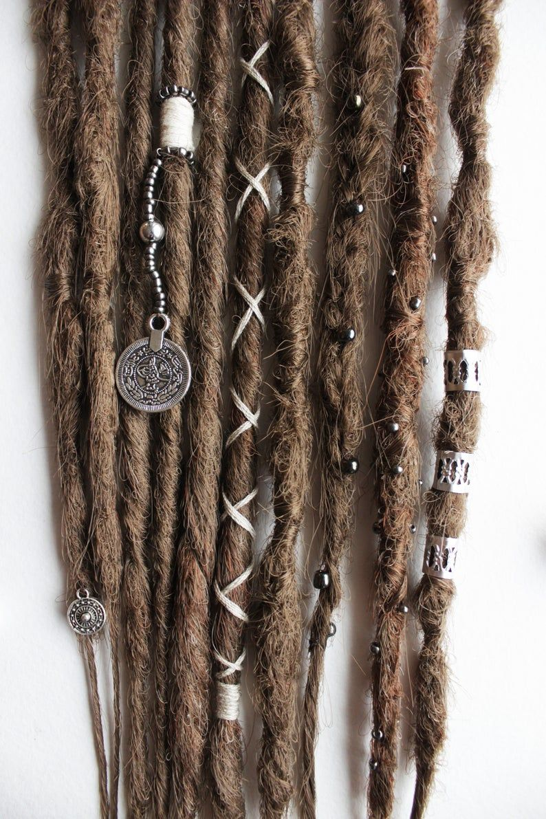Brown hippie synthetic dreadlocks. Clip in dreads. Hair accessories to party and festival. Bohemian hair. Set of 4 clip.