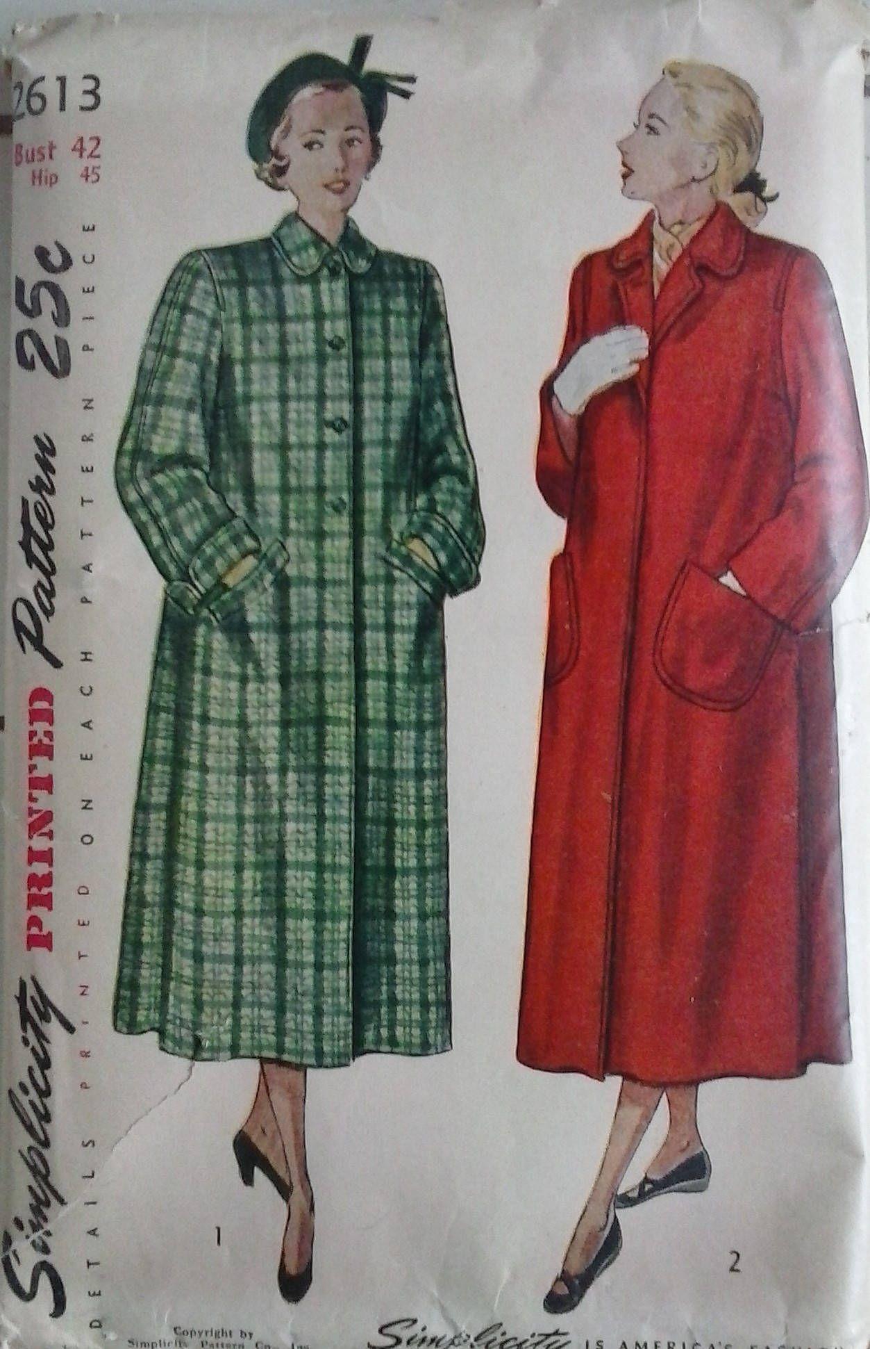 Simplicity ladies coat pattern 2613 vintage 1948 long coat simplicity ladies coat pattern vintage 1948 long coat pattern by craftymjc on etsy jeuxipadfo Choice Image