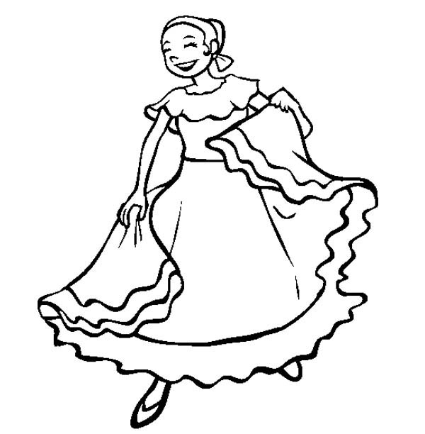 Mexican Folk Dancing Girl In Mexican Fiesta Coloring Page Kids Play Color In 2020 Dance Coloring Pages Coloring Pages Coloring Pages For Girls