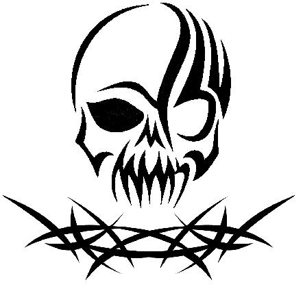 Tribal Skull With Thorns Desenho Caveira Desenho Tatuagem De