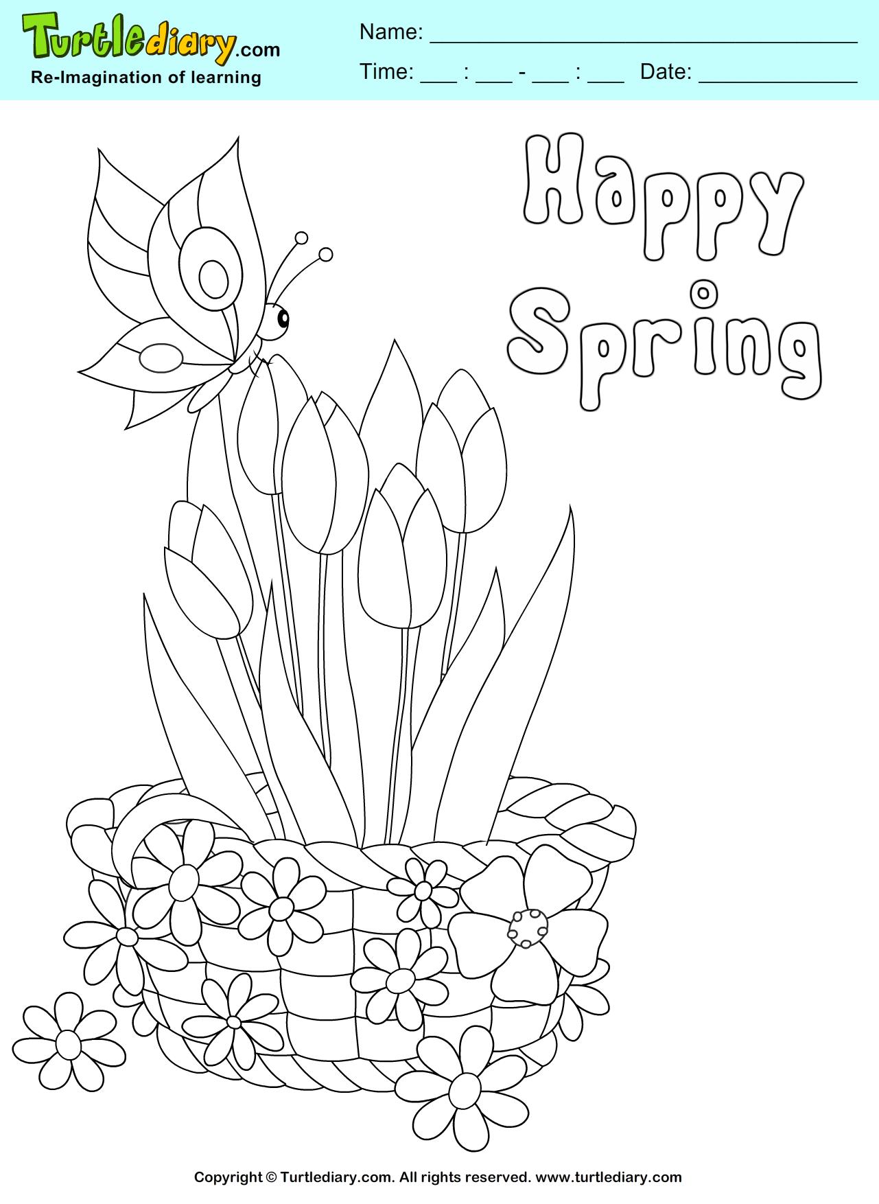Happy Spring Flower Basket Coloring Page Kids Crafts