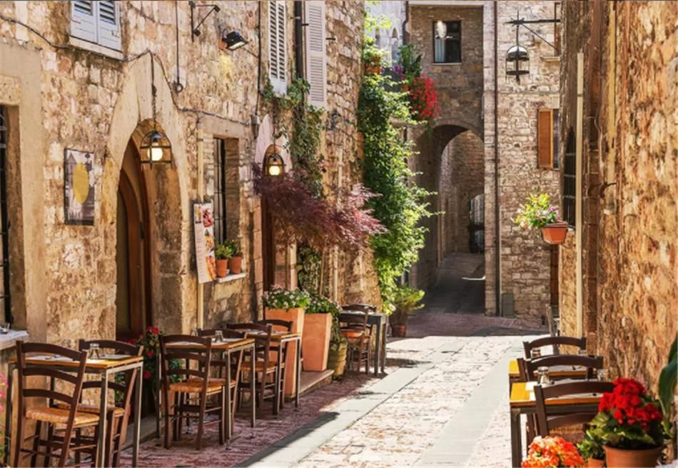 Custom 3d Photo Wallpaper Nature Mediterranean Town Street View Mural Wallpaper Cafe Bar Restaurant Ktv Background Wall Papers Home Decor The Hd Wallpaper The H Living In Italy Umbria Italy Cool