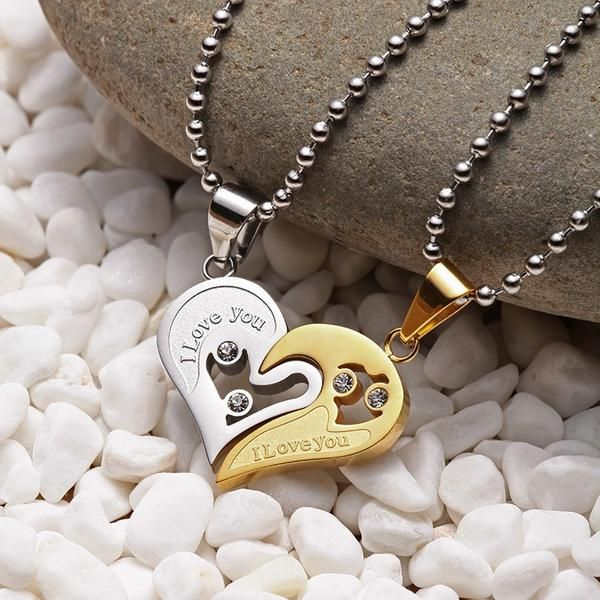 Stainless Steel Chain Black Heart Love Necklaces for Couples