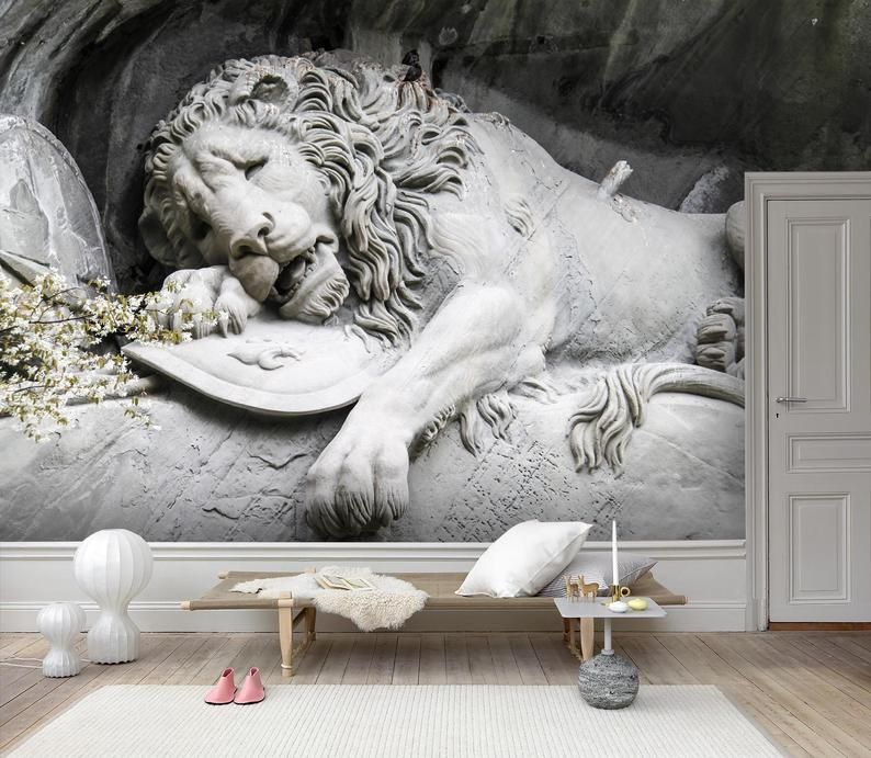 3d Lying Down Lion Wallpaper Removable Self Adhesive Etsy Mural Wallpaper Lion Wallpaper Wall Murals