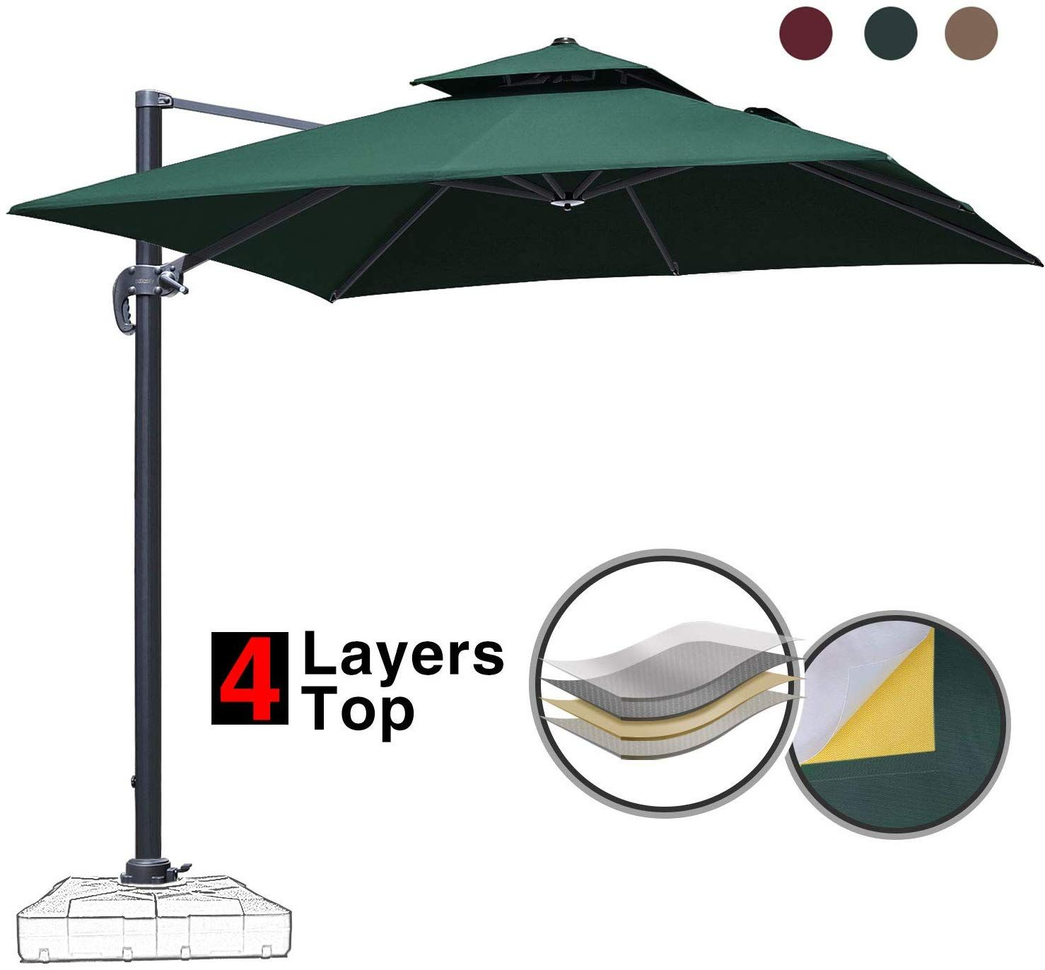 Patiassy 10 Feet Double Top Square Patio Umbrella Offset Hanging Umbrella Outdoor Market Garden Cant Patio Umbrella Cantilever Umbrella Outdoor Patio Umbrellas