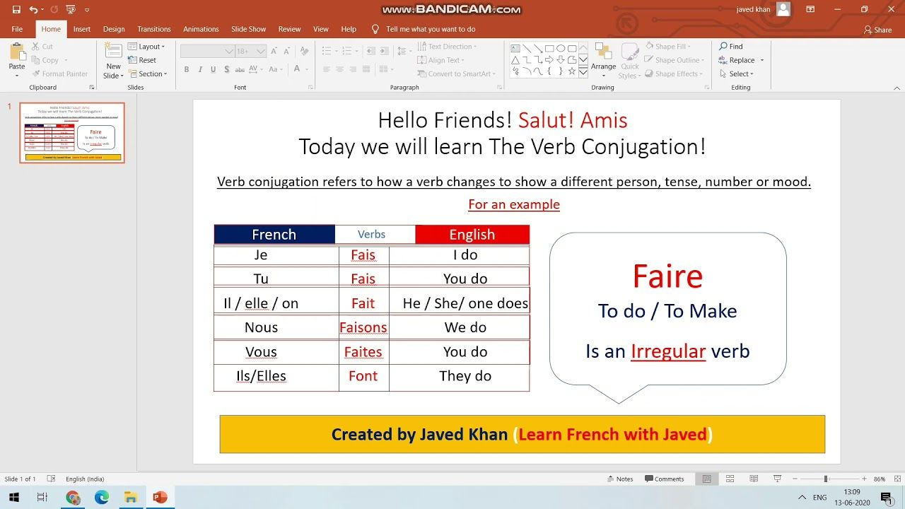 Le verbe faire   The faire verb ( To do / To make ) in ...
