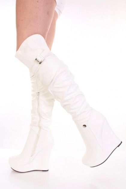 White Faux Leather Buckle Accent Knee High Wedge Platform Boots ...