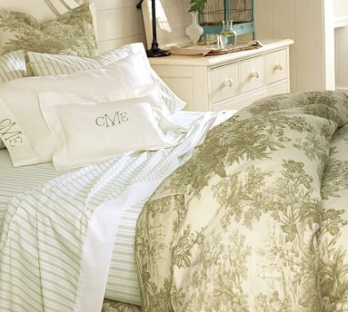 Matine Toile Duvet Cover Sham Sprout Green Potterybarn I Think This Set Is Really Pretty