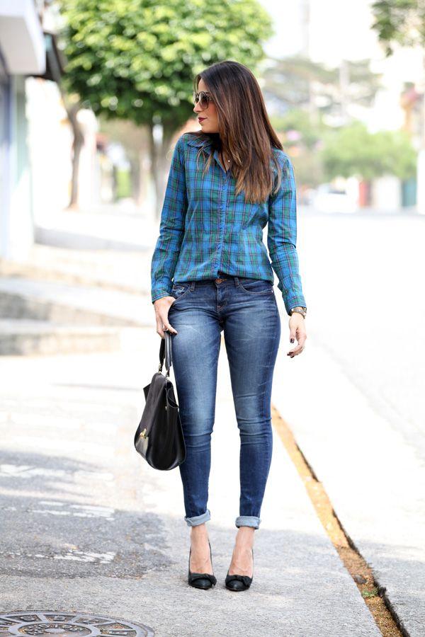 look-camisa-xadrez-azul-verde-jeans-scarpin  8930c3cf895