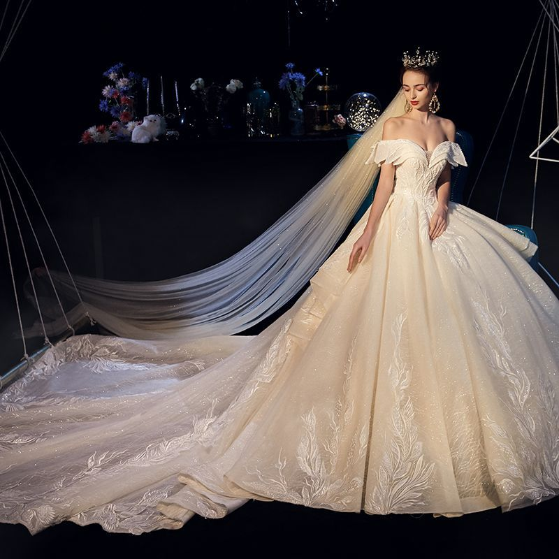Ball Gown Long Sleeve Beaded Crystal Applique Watteau: Luxury / Gorgeous Champagne Wedding Dresses 2019 A-Line