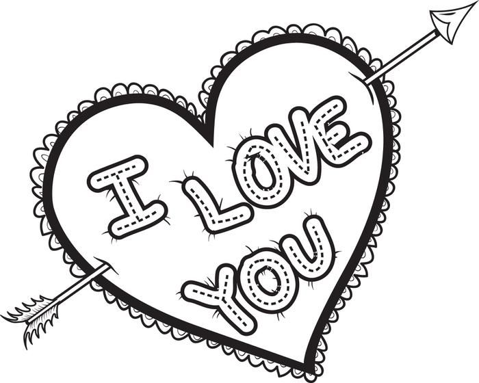 4747 I Love You Arrow Coloring Page Jpg 700 560 Pixels Heart