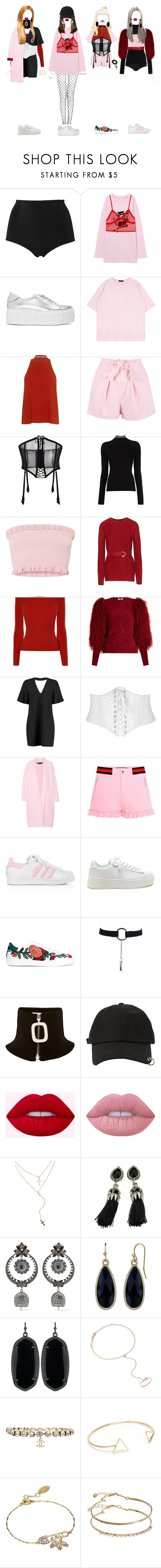 """""""- red, pink concept"""" by xxeucliffexx ❤ liked on Polyvore featuring Monki, Versus, A.L.C., Boohoo, FOLIES BY RENAUD, Misha Nonoo, Sonia Rykiel, Rochas, Gucci and adidas"""