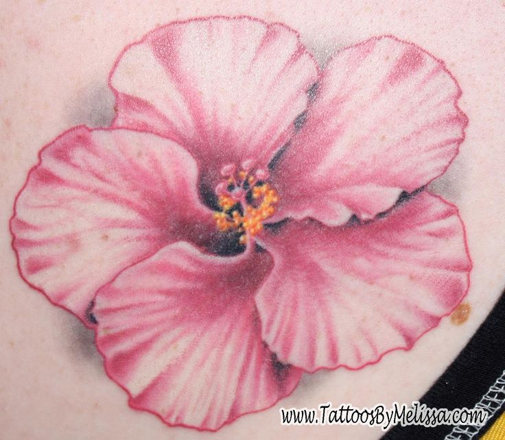 Realistic Flower Tattoos Realistic Pink Hibiscus Flower Tattoo