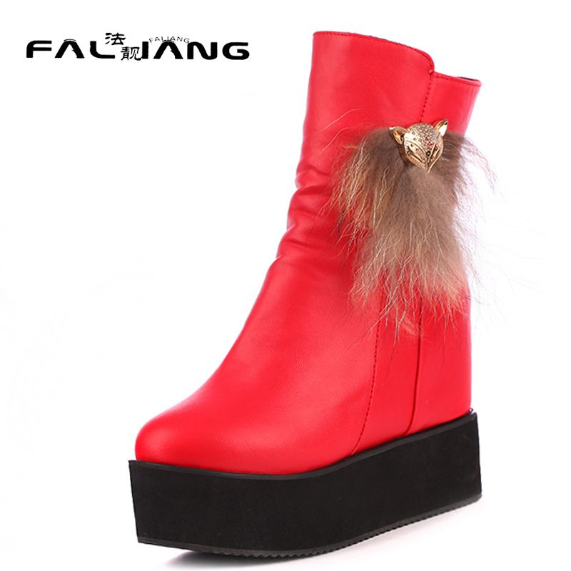 >> Click to Buy << Winter plus size 11 12 13 14 15 16 Fashion Metal Decoration Bread bottom Wedges Mid-Calf High Heels Martin boots Winter Boots #Affiliate