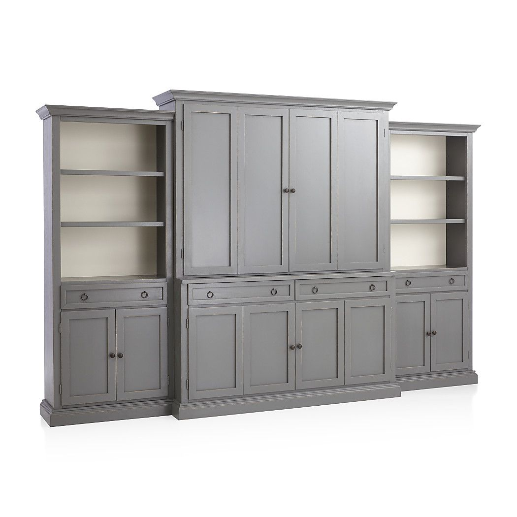 Shop cameo 4 piece grey storage bookcase entertainment center