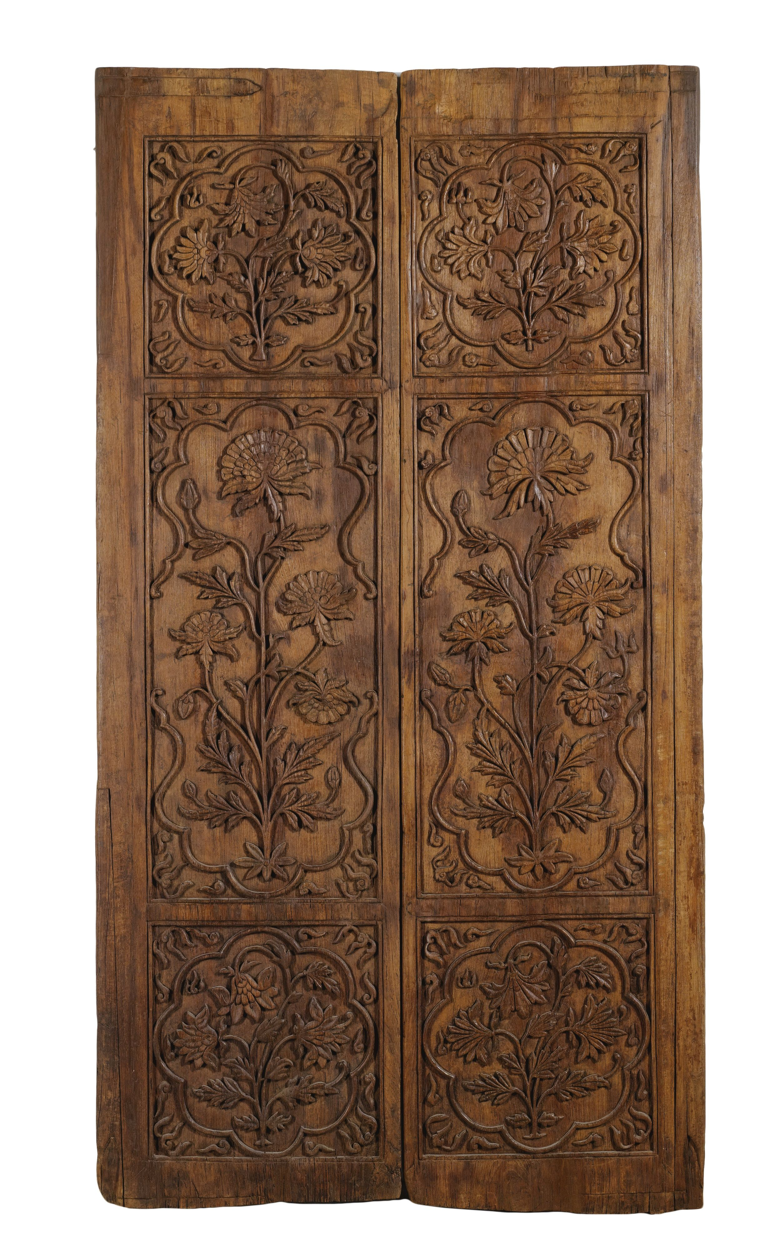 A Pair Of Mughal Carved Wooden Doors India 17th Century Comprising Two Each Rectangular Form Divided Into Three Panels Finely With