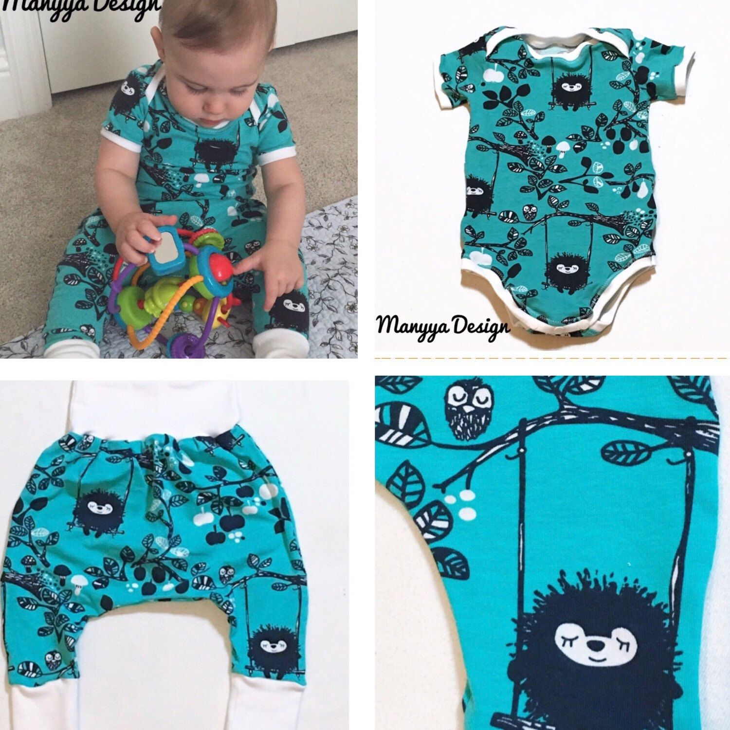 Now available for custom order Organic Baby Clothes Pants Harem