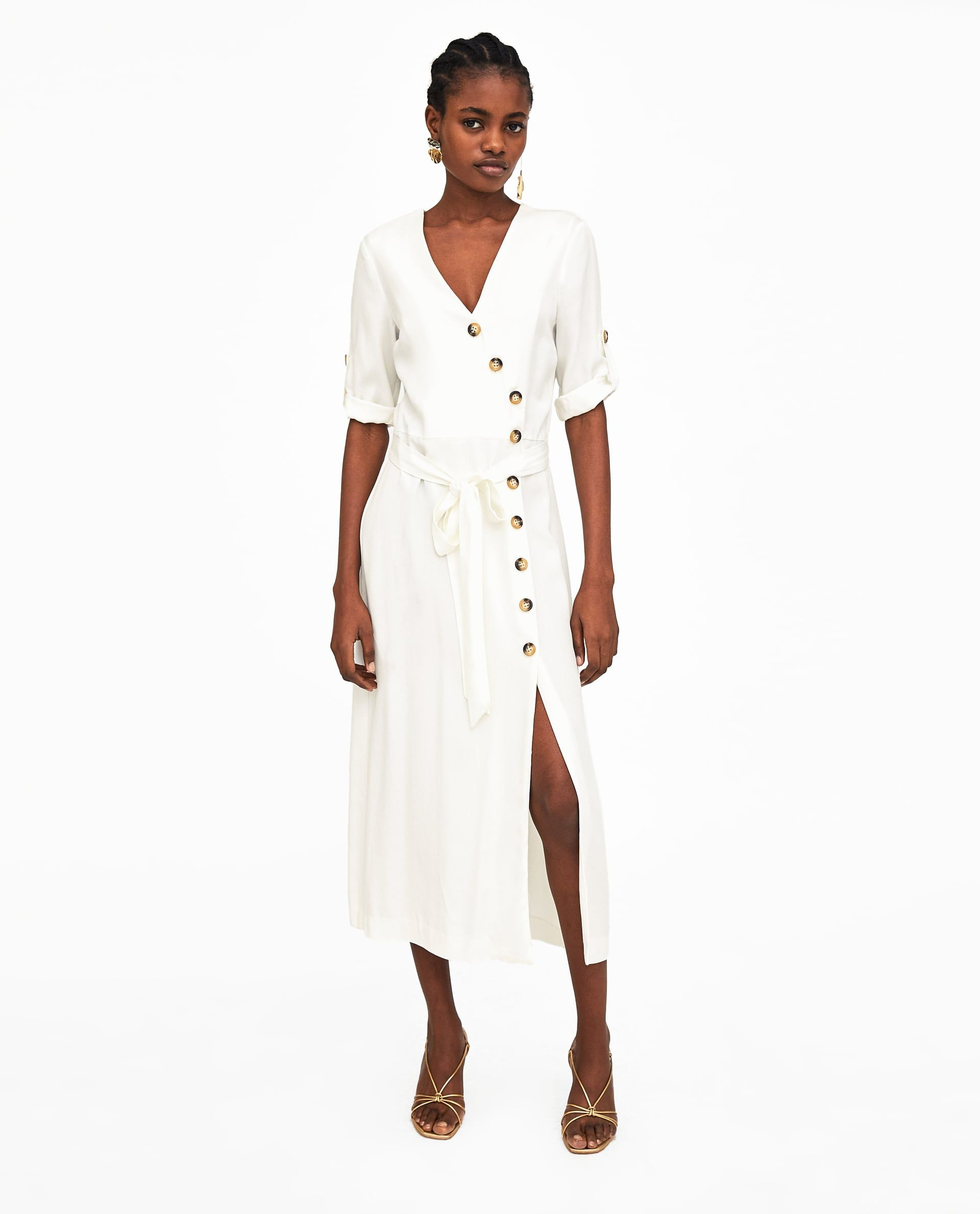 Zara vestidos blancos midi