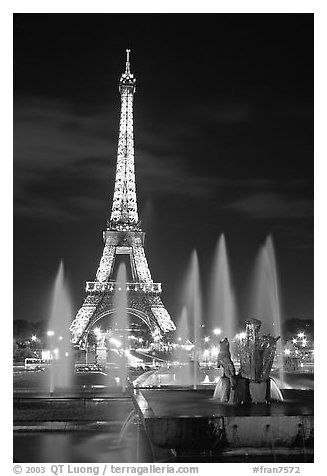 Want this print! Tour Eiffel (Eiffel Tower) and Fountains on the Palais de Chaillot by night. Paris, France (black and white)