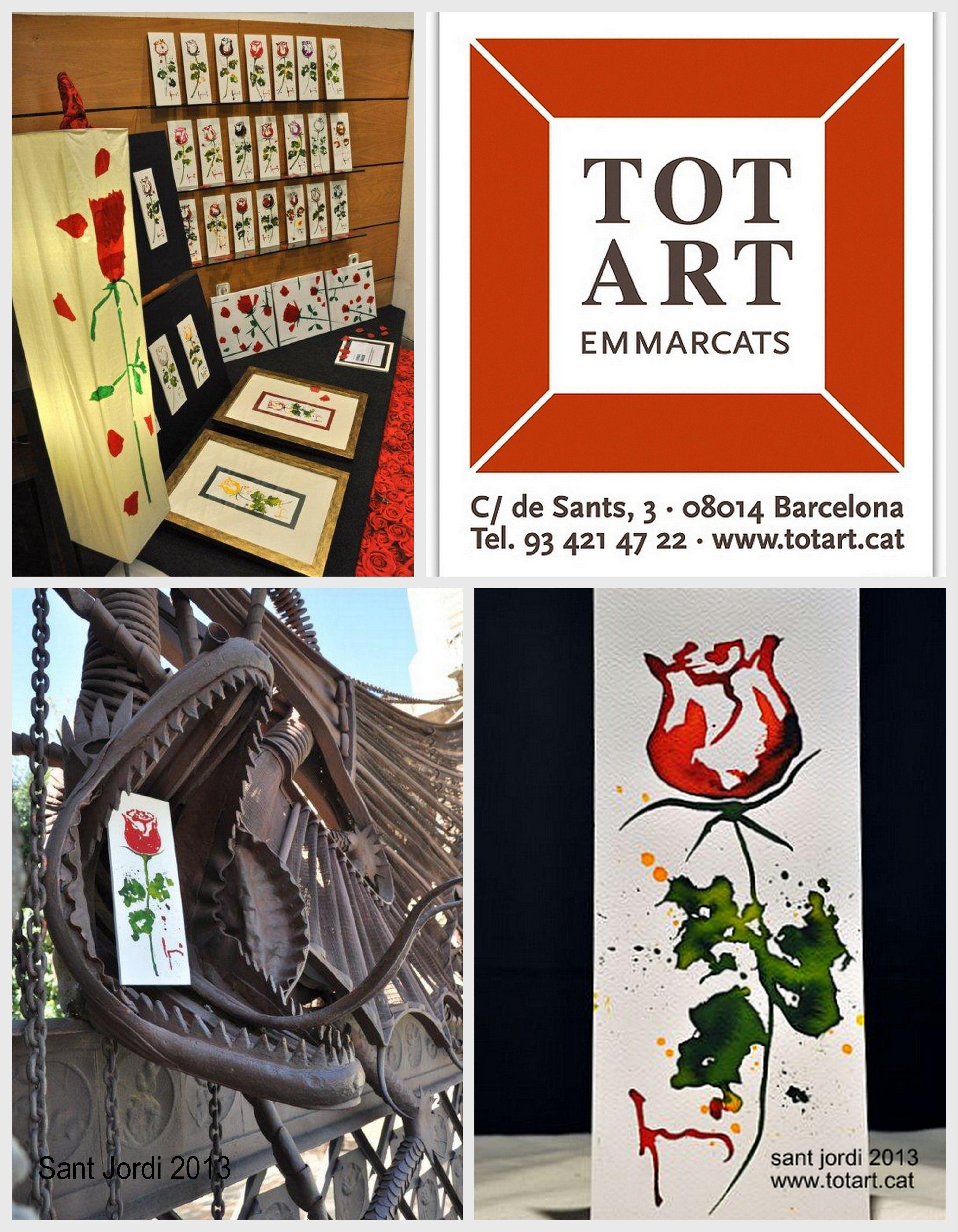 """Escaparate TOTART Barcelona. Dia de """"Sant Jordi"""" 2013. Acuarelas originales con el  Dragón de hierro Puerta Palacio Güell Barcelona. www.totart.cat.........#marcos #cuadro #moderno #originals #cute #ideas  #frames #barcelona #tiendas #picture"""