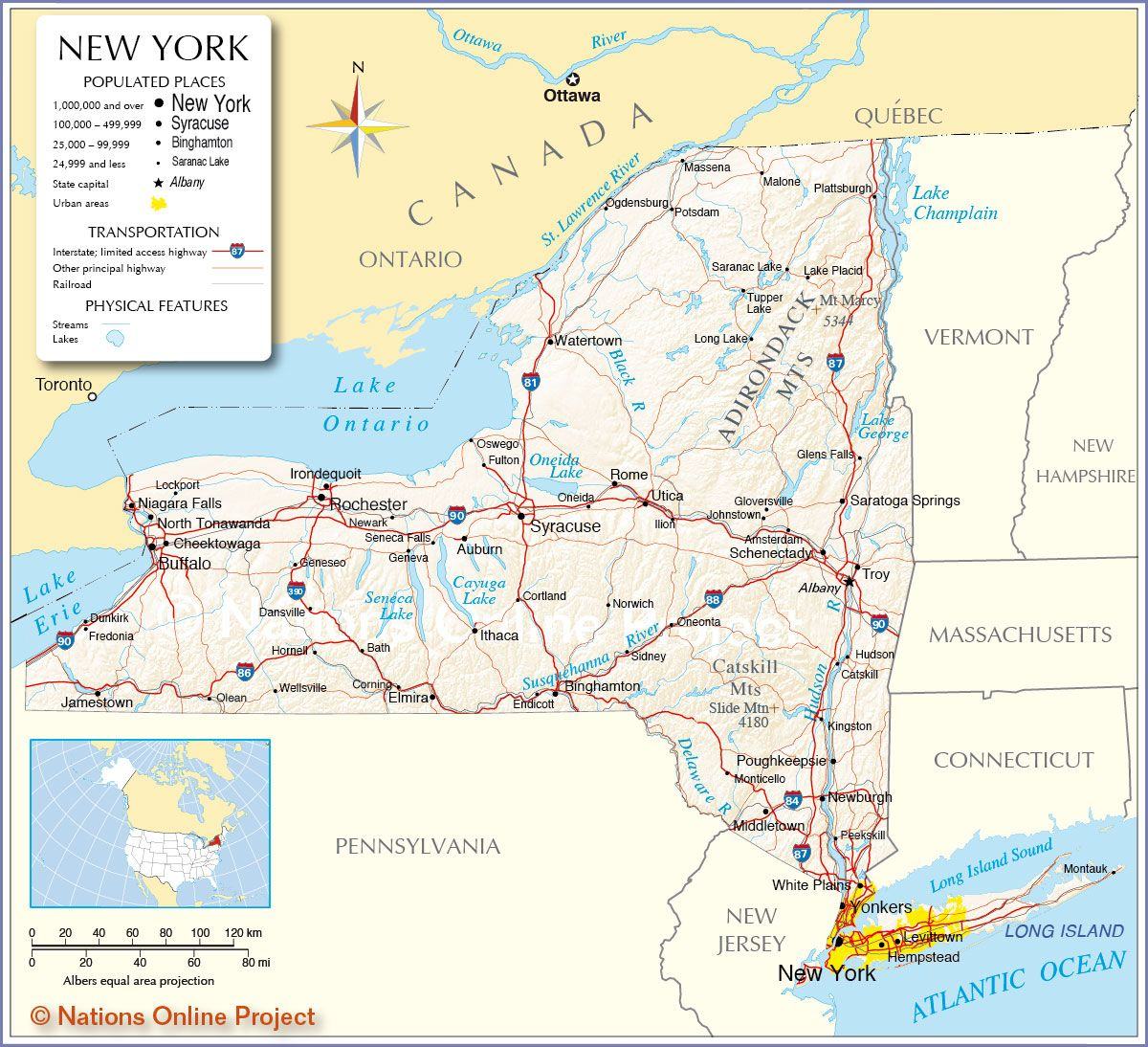 Map New York Reference Map Of The State Of New York USA - New york on us map