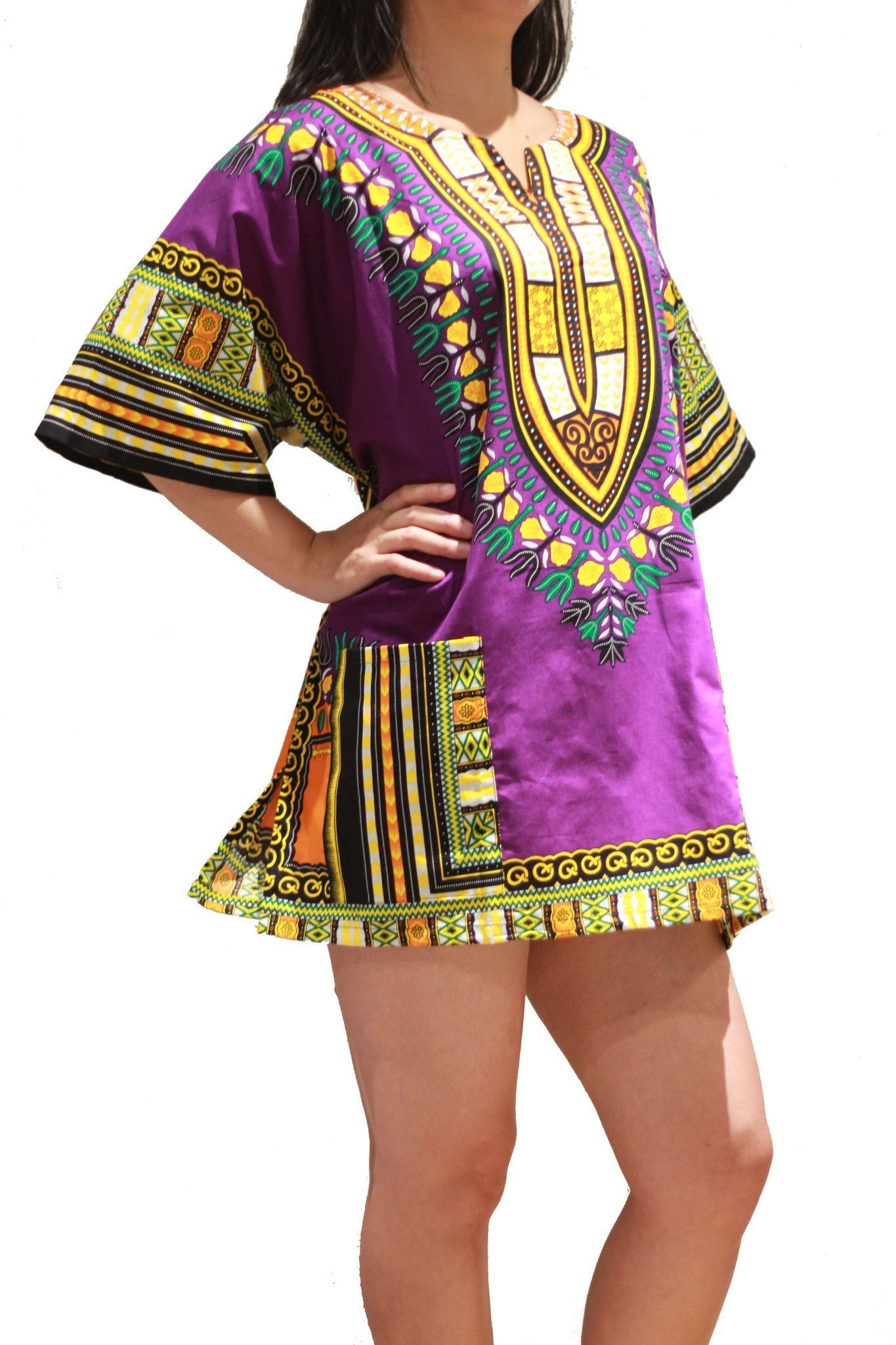 cee0880e459 Traditional African Dashiki Shirt Dress Unisex for Men or Women - Purple - Free  Size  AfricanOutfitIdeas