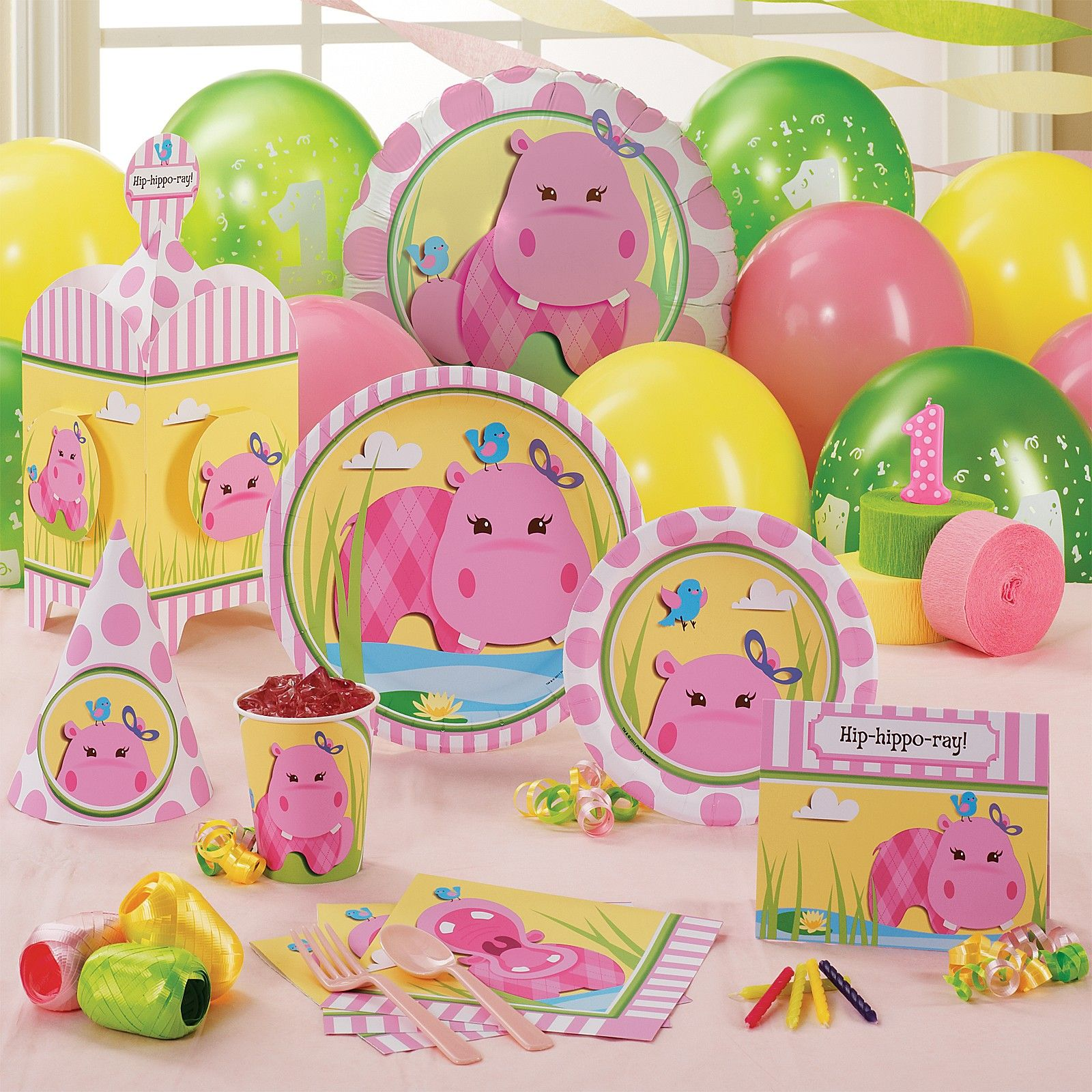 Hippo Pink Party Supplies Birthdayexpress Com 1st Birthday Parties Birthday Party Packs 1st Birthday Party Supplies