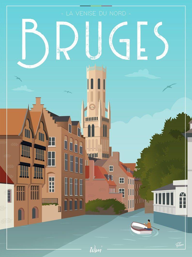Bruges Travel Poster,Bruges Print,Brugge,Brugge Vintage Travel Poster,Canal Print,Bruges Travel Art,Vintage Belgium Print,Belgium Poster